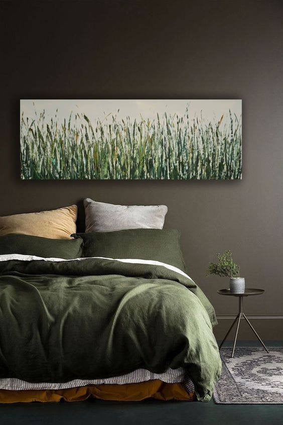 Farmhouse Greenery Art Narrow Horizontal Palette Knife Impasto Etsy Bedroom Wall Decor Above Bed Bedroom Green Home Decor Bedroom