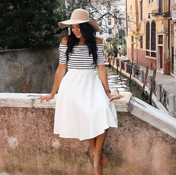 Convey the Moment: Venice, Italy - off the shoulder striped top ...
