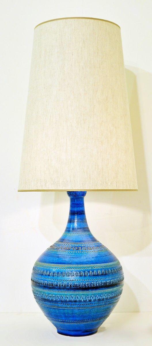 Aldo Londi For Bitossi Rimini Blue Pottery Table Lamp 1960s Lamp Lighting Via Antica Blue Pottery Table Lamp Lamp
