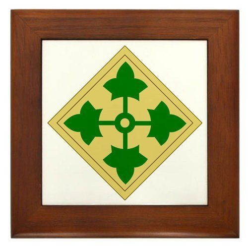 """4th Infantry Division 1 Military Framed Tile by CafePress by CafePress. $15.00. Two holes for wall mounting. 100% satisfaction guarantee return policy. Frame measures 6"""" X 6"""" x 0.5"""" with 4.25"""" X 4.25"""" tile. Rounded edges. Quality construction frame constructed of stained Cherrywood. Framed Tile"""