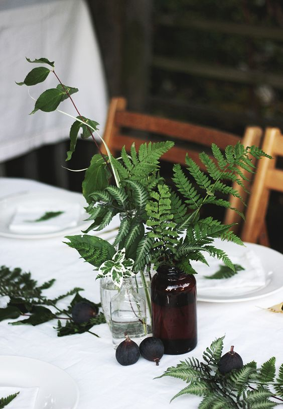 Fern & Fig Garden Party @themerrythought, simple greenery in collected vases. Love the texture.
