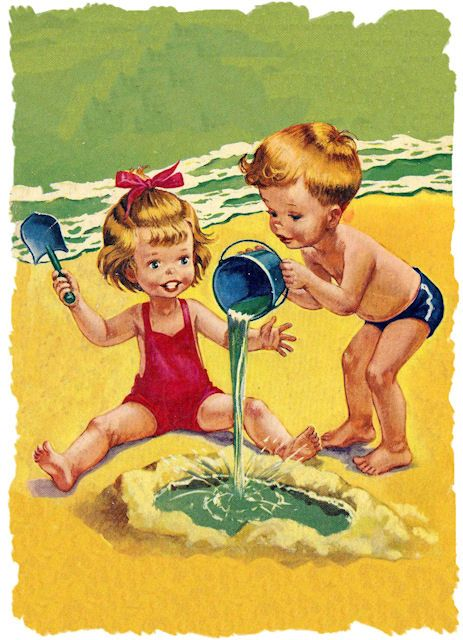 "I have this Little Golden Book .... I think it's called ""A Day at the Beach"":"