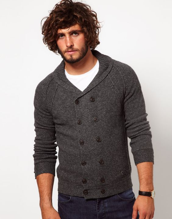 Diesel Double Cardigan WIth Shawl Collar
