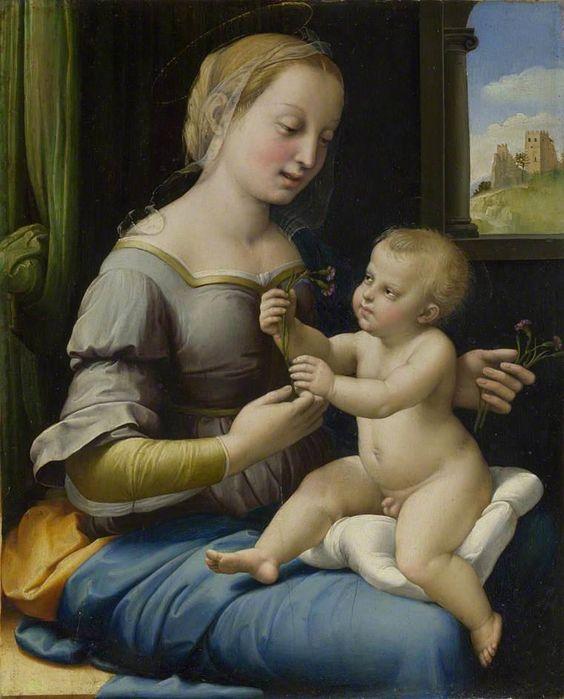 Raffaello Sanzio (Raphael) (1483-1520)    La Madonna dei Garofani 1506-07 ca.    Nationa Gallery, London