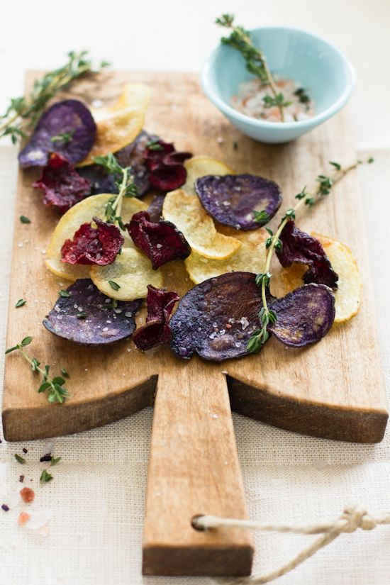 Beet and Potato Chips with Thyme Rock Salt from @sipsandspoonfuls