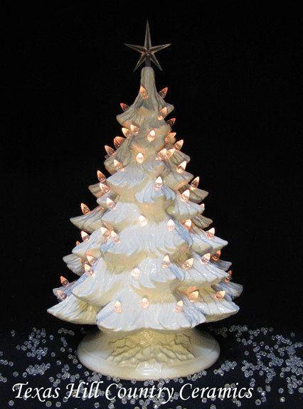 Winter White Ceramic Christmas Tree Crystal Lights Large