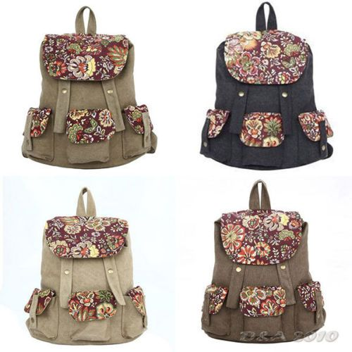 Retro Floral Blossom Pattern Women Girls Backpack Canvas Satchel School Book Bag