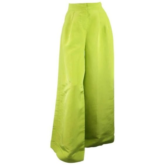 OSCAR DE LA RENTA Size 8 Light Green Silk Dramatic Wide Leg High Rise... ($326) via Polyvore featuring pants