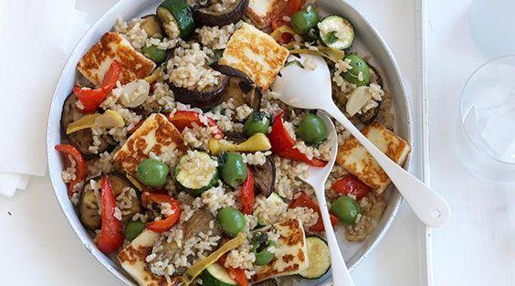 Roast Vegetable, Haloumi and rice salad