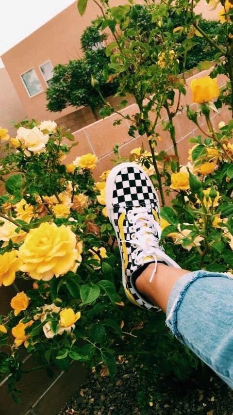 Yellow Aesthetic Checkered Vans With Images Yellow Vans