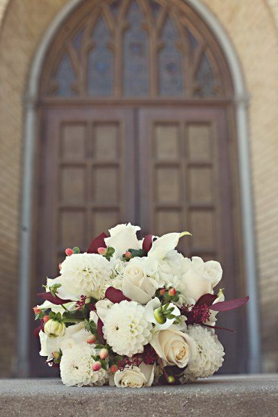 Fall Summer Burgundy Green Ivory Red White Bouquet Wedding Flowers Photos & Pictures - WeddingWire.com