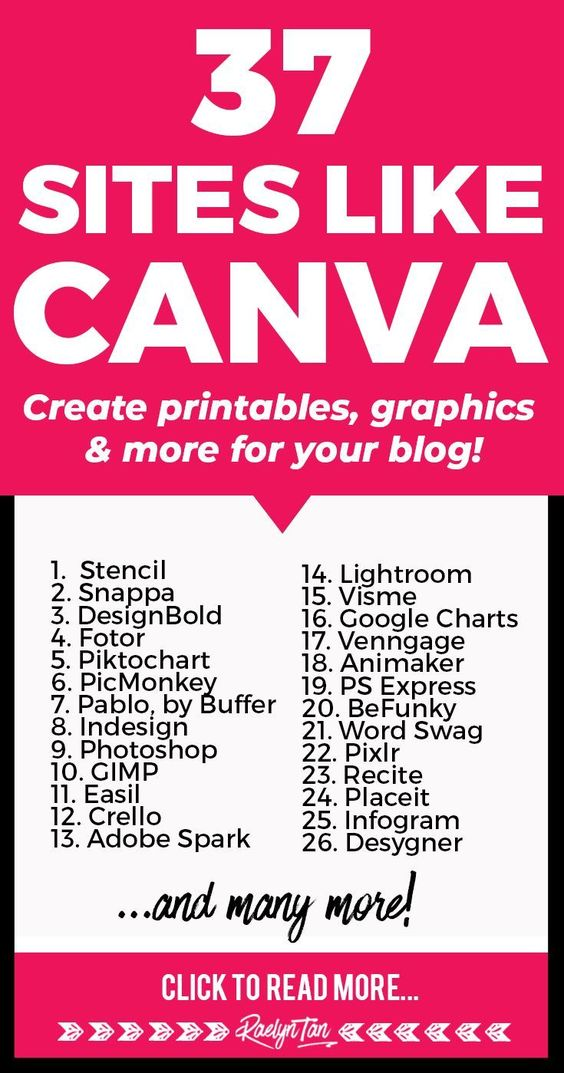 Here are 37 sites like Canva - Great ideas for alternative tools you can use to create printables, graphics, and more for your blog and business! Includes: picmonkey, snappa, designfotor, pablo, Adobe Photoshop, GIMP and more. via @raelyntan