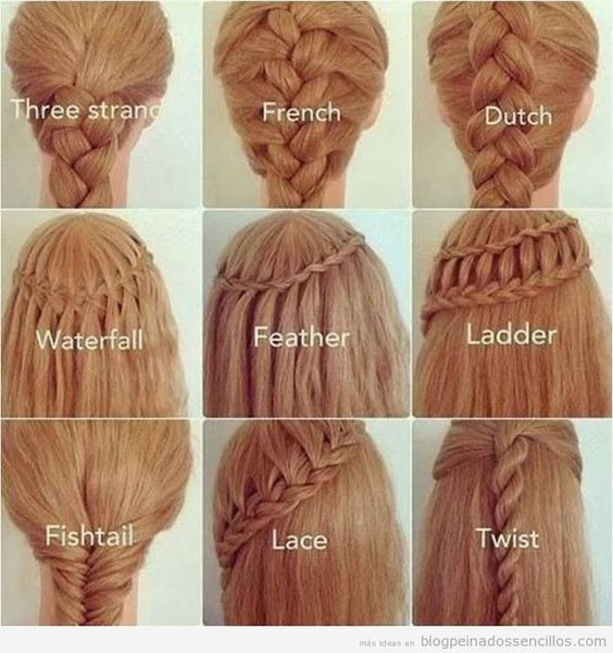 Peinados fáciles, nueve tipos de trenzas diferentes
