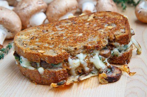 Mushroom grilled cheesy goodness sandwich