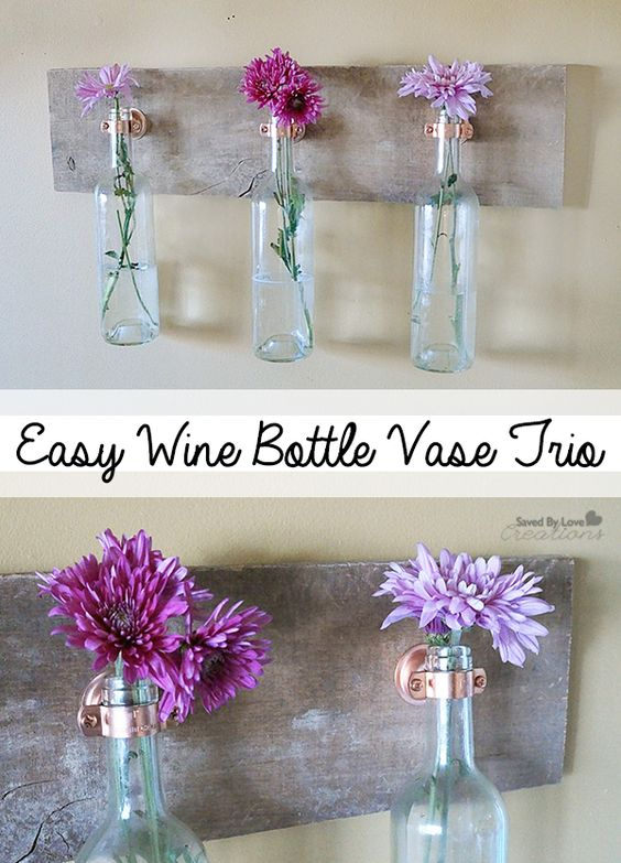 Recycle Wine Bottles into Inexpensive Wall Decor with Reclaimed Wood @savedbyloves #art #recycle