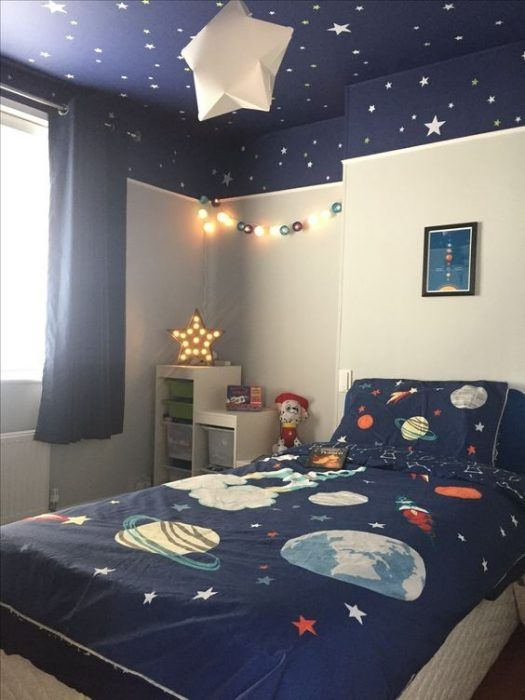 Space Theme Bedroom In 2020 Outer Space Bedroom Space Themed
