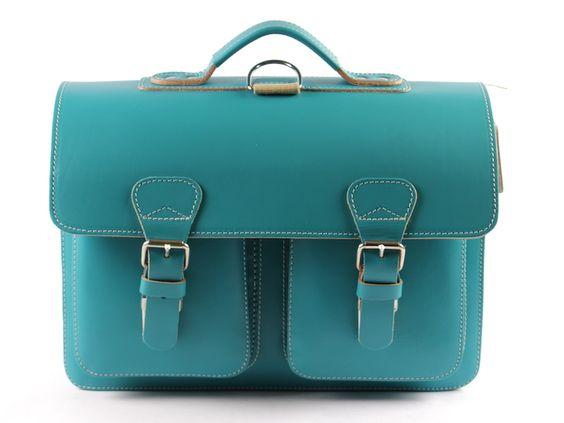Ruitertassen 182233 - turquoise lederen boekentas - Hippe Schoentjes