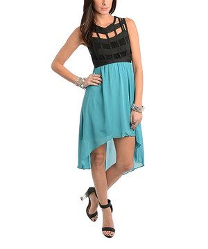 This Teal & Black Cutout Hi-Low Dress by Buy in America is perfect! #zulilyfinds