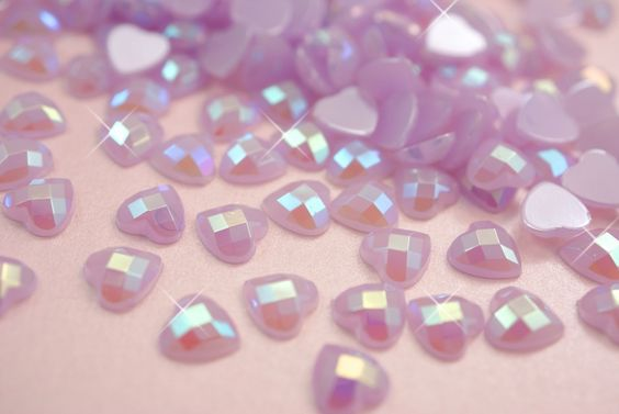 """Sparkly lilac!! -- """"100 x Candy Lilac AB Jelly Flat Back HEART Shaped Rhinestones"""""""