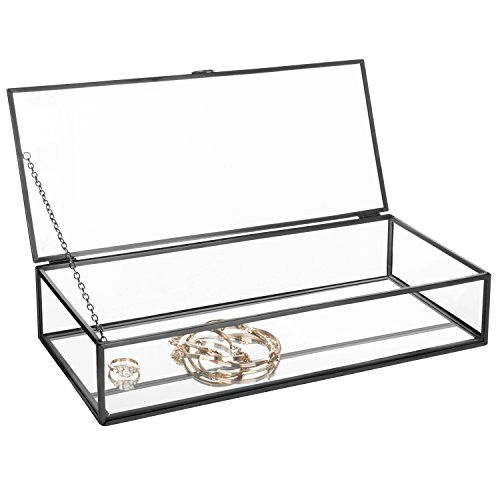 Vintage Style Black Metal Clear Glass Mirrored Shadow Box Jewelry Display Case W Hinged Top Lid Beautiful Cool Jewelry Jewelry Display Case Glass Shadow Box Display Case