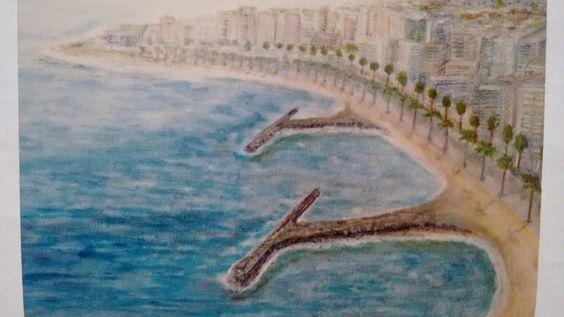 Paseo de Benicasim. Óleo sobre lienzo por Javier Vega Regueiro.
