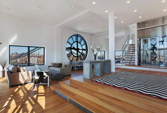 clock tower inner works | Clock Tower Apartment- levels of open plan living wood flooring down ...