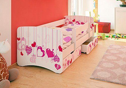 Tolles Kinderbett Mit Rausfallschutz Stauraum Boxen Und Rosa Herz
