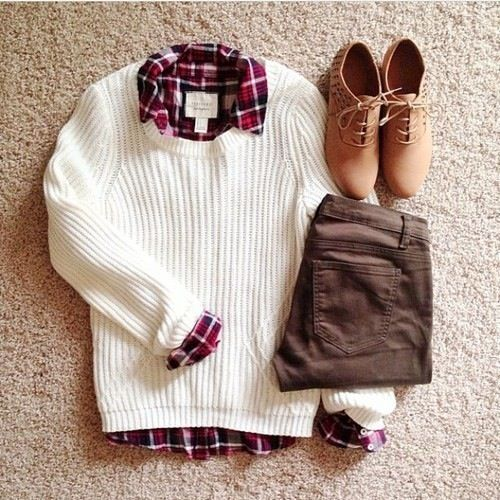 Cute fall/winter outfit idea. My footwear choice would differ... Casual red chucks, work a great driving moccasin.
