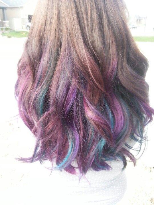 A48bcc656a688248a6e4c94dfac5be15 Purple Highlights Underneath Turquoise Highlights Jpg 540 720 A In 2020 Purple Highlights Brown Hair Underlights Hair Dip Dye Hair