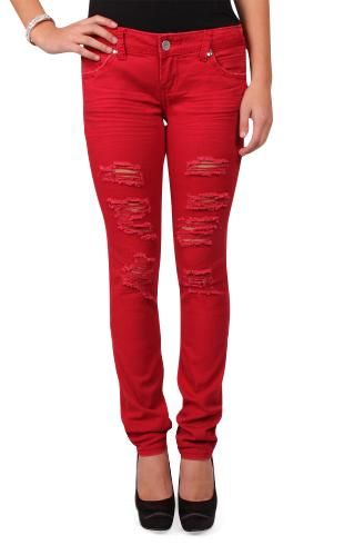 almost famous destructed colored skinny jeans | Things I should