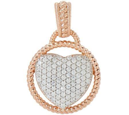 Judith Ripka Sterling & 14K Clad 0.34 ct Pave Diamonique Heart Enhancer