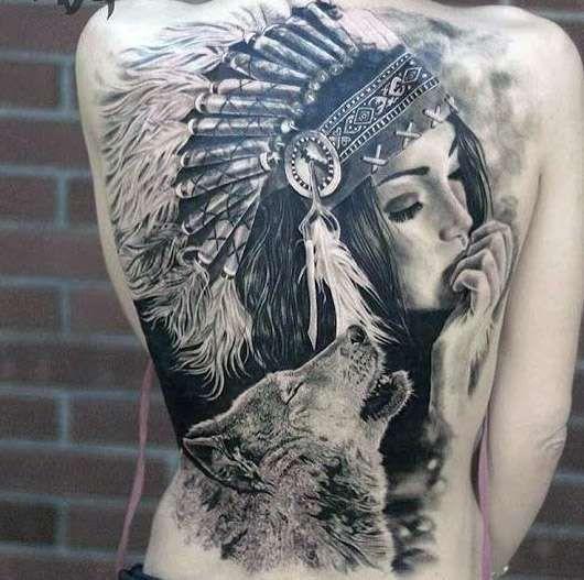 Tatuaje De Lobo Y Nina India Tatuaje Indio Tatuaje Y Lobo India Indio Tatuaje Native American Tattoos Indian Women Tattoo Warrior Tattoos
