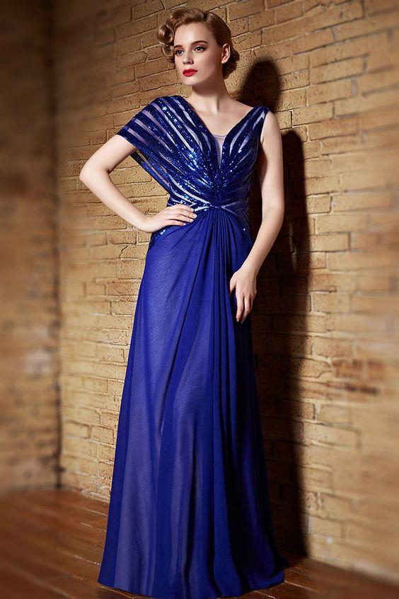 Elegantes A-Linie Chiffon langes V-Ausschnitt Ärmelloses Abendkleider Persunshop
