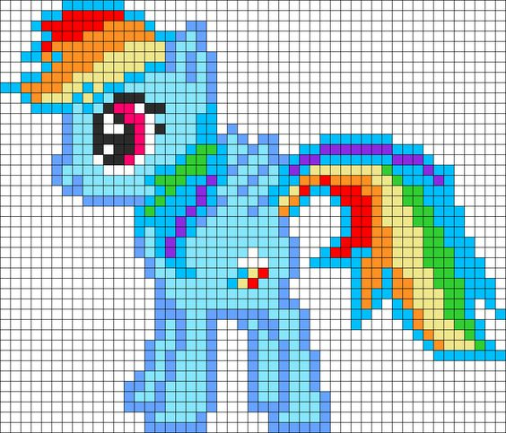 Rainbow Dash My Little Pony Perler Bead Pattern / Bead Sprite: