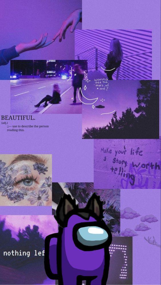 Wallpaper Iphone Purple Aesthetic Among Us