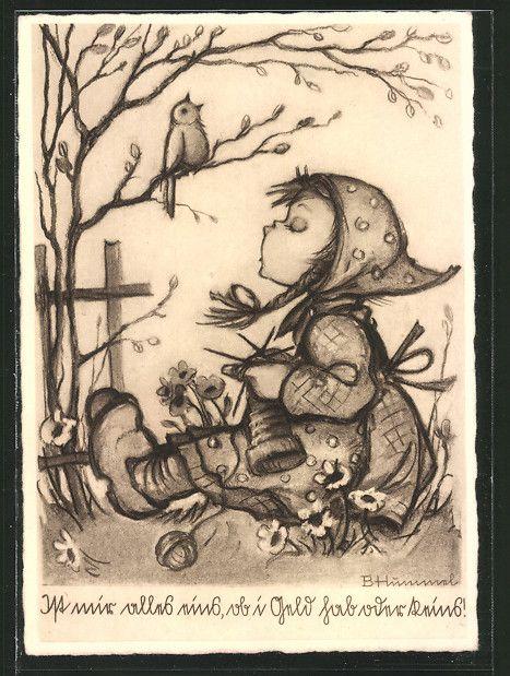 old postcard: Künstler-AK Hummel Nr. 4432: Mädchen strickt und singt mit Vogel