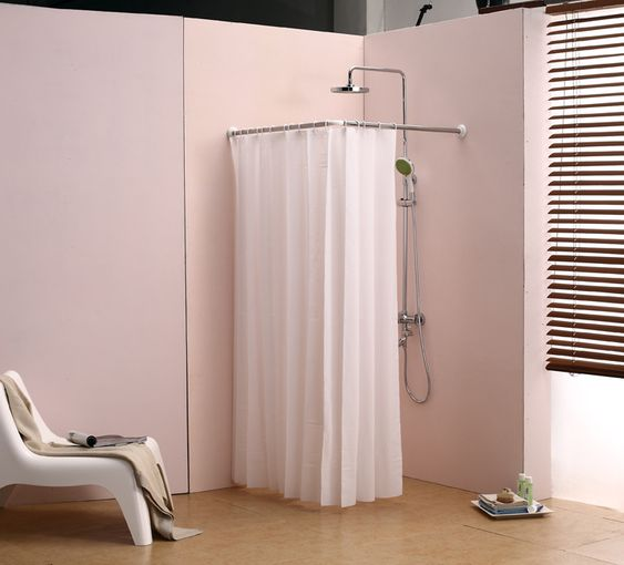 Curtain Rods corner shower curtain rods : L bathroom curtain cloth hanging rod corner shower curtain rod ...