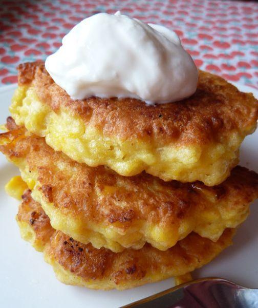 corn cakes:  2 cups frozen corn, 1 egg, 1/3 c milk, 3/4 c flour, 1 tsp baking powder.  puree, mix dry ingredients, heat in pan