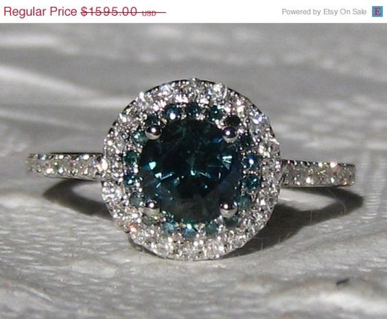 Round Teal Blue Sapphire and Blue Diamonds in White Gold Diamond Halo Engagem