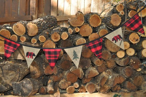 Lumberjack/woodland/camping party fabric pennant flag banner, black/red buffalo plaid flannel & burlap with bears, birthday decor/photo prop