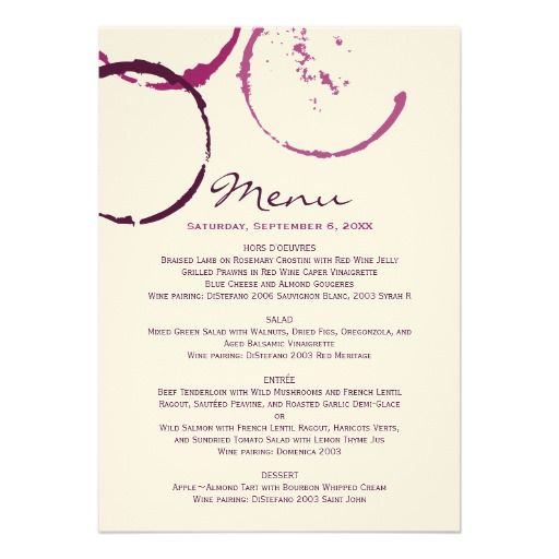 Stains vineyard wedding and vineyard on pinterest for Ideas for dinner menu