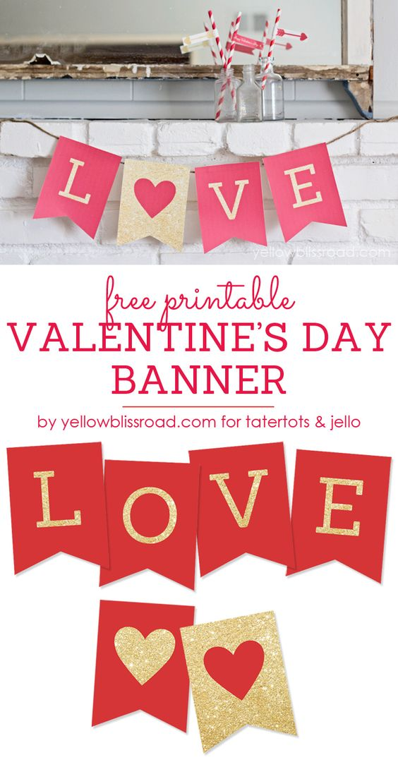 Free Printable LOVE Valentine Banner. Valentine's decor idea.: