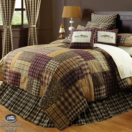 Brown log cabin fish lodge twin queen cal king quilt for Fish bedding twin