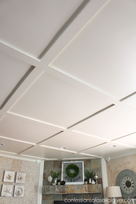 Faux coffered ceiling to hide popcorn ceiling interiors for Simple ceiling