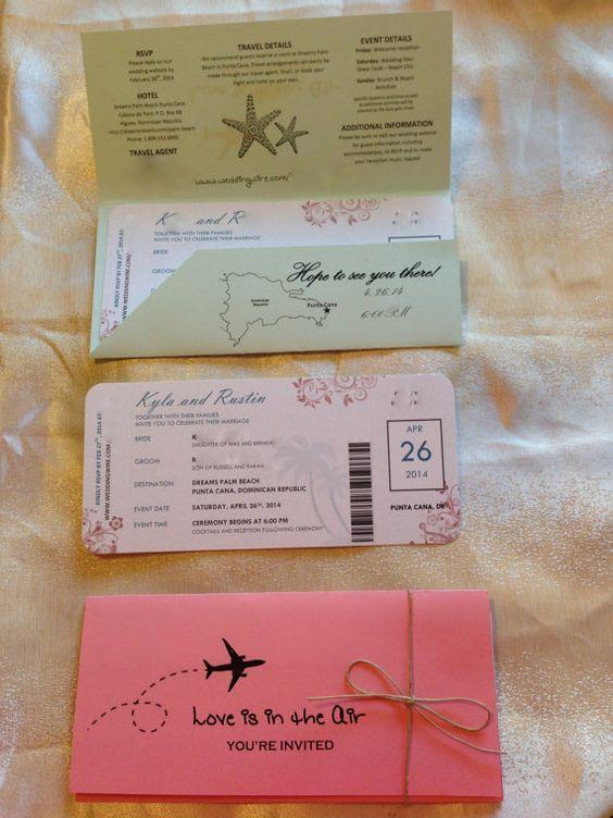 Deposit For Destination Airline Style Ticket Wedding Invitations Wedding