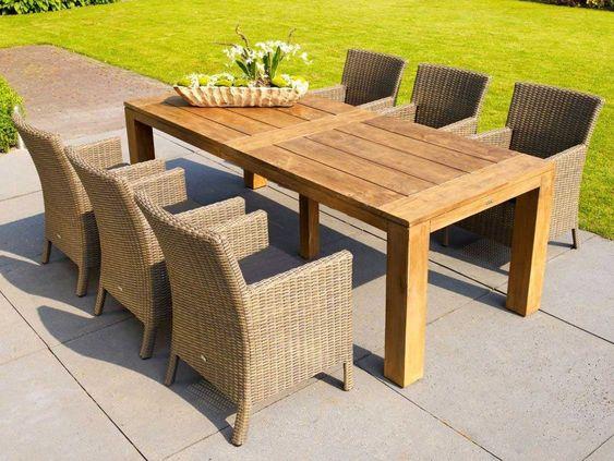 Life Gartenmobel Corona Teak Tisch Mit Rattan Stuhlen Sixteen Kaufen Im Borono Online Shop Gartenmobel Gartenmobel Lounge Set Holztisch Terrasse