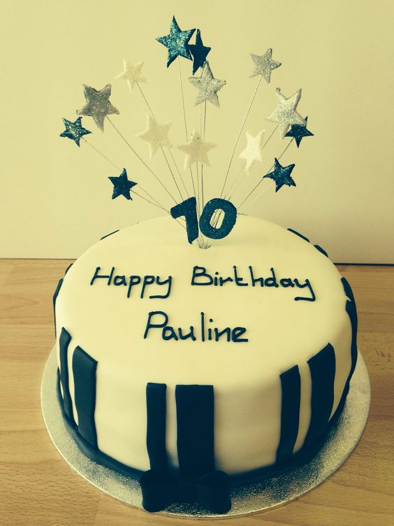 Black and white celebration cake with star explosion