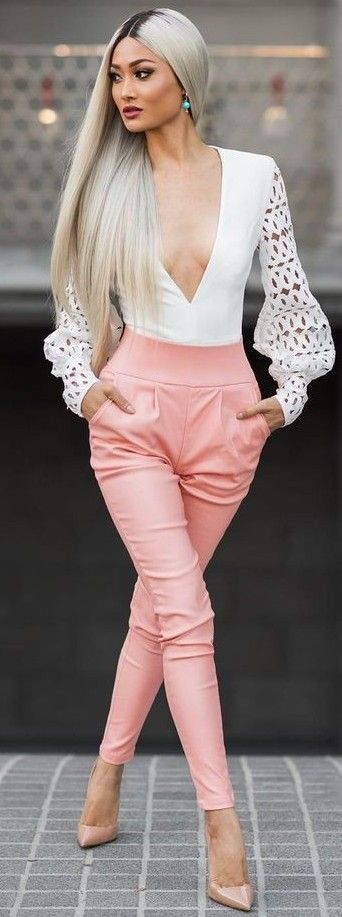 #Street #Fashion | White Bodysuit + Pink Leather Pants + Nude Heels | Micah Gianneli: