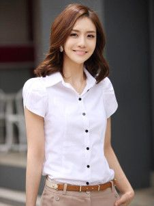 Formal White Turndown Collar Short Sleeves Cotton Womans Shirt ...