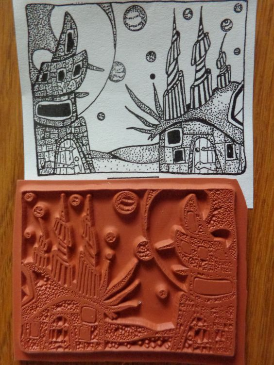 RARE! Teesha Moore Zettiology Unmounted Rubber Stamp SURREAL ALIEN SPACE SOLAR!
